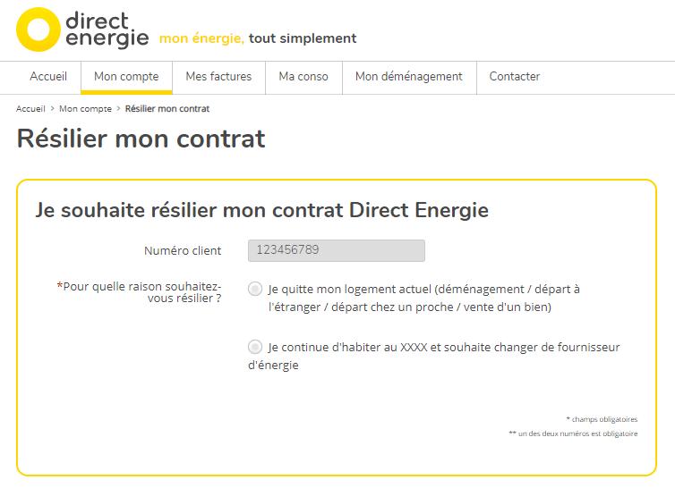 Écran de résiliation de contrat Direct Energie